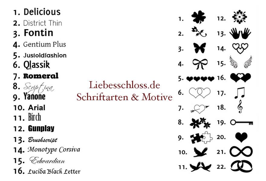 Liebesschloss.de Schriftarten und Motive für Gravur